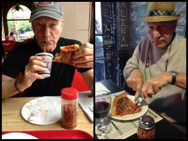 p. stew exemplifying how to eat pizza like a badass, regardless of utensils.